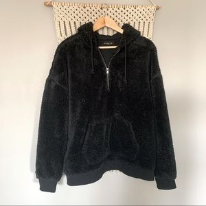 PACSUN 1/4 Zip Plush Sherpa Fleece Hoodie